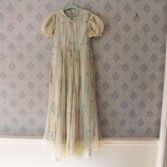 Vintage Girl's 1930s Sheer Green and Pink Floral D