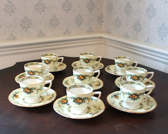Vintage 1920s to 1930s Set of 9 Crown Ducal Ware Pattern #A1476 English China Demi Tasse Cups and Saucers