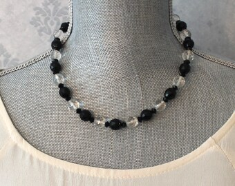 Vintage Black and Clear Faceted Glass Beaded Necklace