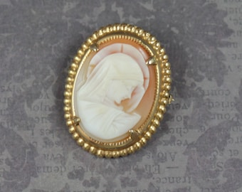 Vintage 12K Gold Filled Peach Shell Carved Madonna Cameo and Gold Brooch