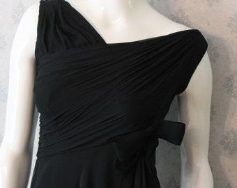 Vintage Malcom Starr Bonwit Teller Long Sheer Black Silk Sleeveless Draped Evening Gown