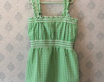 Vintage Toddler Blue and White Checkered Cotton Long Sleeve Dress
