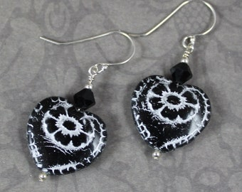 Black and Sterling Silver or 14K Gold Fill Pressed Czech Glass Heart Dangle Earrings