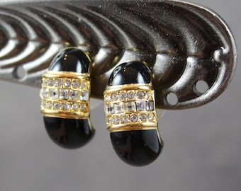 Vintage 1990s Black Enamel, Clear Rhinestone and Shiny Yellow Gold Tone Curved Pierced Earrings