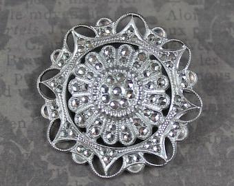 Vintage Kimler & Daniels KD Sterling Silver Marcasite Round Filigree Brooch