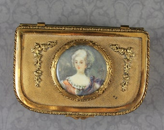 Antique French Brass Hinged Hand Painted Portrait Jewelry Casket or Box with Mint Green Velvet Lining