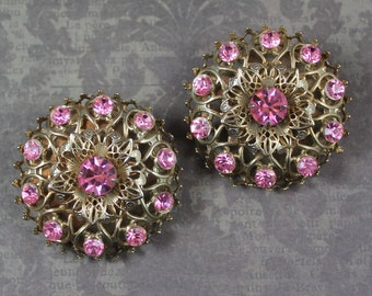 Vintage Pink Rhinestone and Gold Filigree Large Round Clip On Earrings