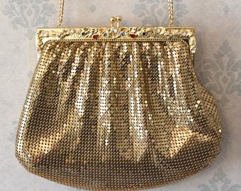Vintage Whiting & Davis Shiny Gold Mesh Jewelry Rhinestone Framed Evening Purse