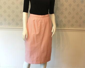 Vintage 1980s Bubblegum Pink Leather Pencil Skirt