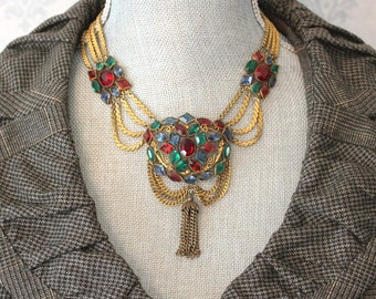 Vintage 1930s Unsigned Hobe Open Backed Ruby Red, Sapphire Blue and Emerald Green Tassel Festoon Necklace