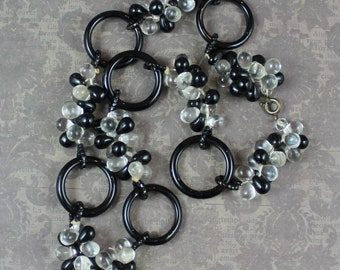 Vintage Black and Clear Glass Hoop and Cluster Beaded Necklace
