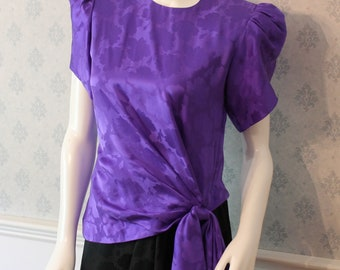 Vintage 1980s Black and Purple Silk Adrianna Pappell Dress Size 4