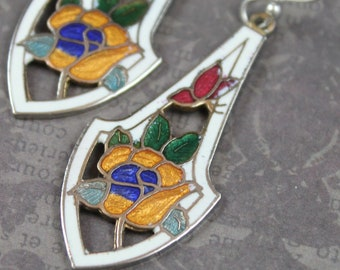 Vintage White, Yellow, Green, Red and Blue Floral Cloisonné Drop Pierced Earrings