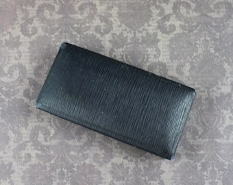 Vintage Hamilton Black Faux Leather Satin and Velvet Lined Brooch Jewelry Box