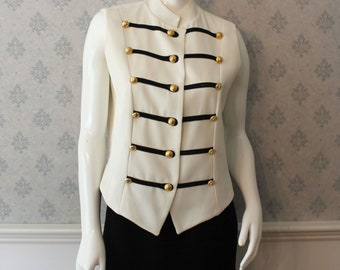 Vintage 1990s Black and White Gold Buttoned Women's Vest