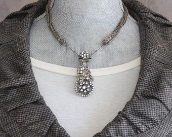 Vintage Silver Multi Chain Rhinestone Filigree Pendant Necklace