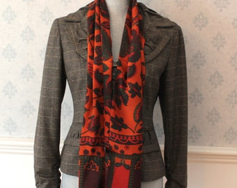 Vintage Speciality House 100% Silk Richly Colored Orange, Green, Red and Purple Floral Long Thin Scarf