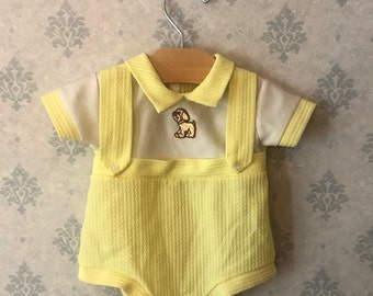 Vintage Yellow and White Polyester Dog Applique Newborn Outfit