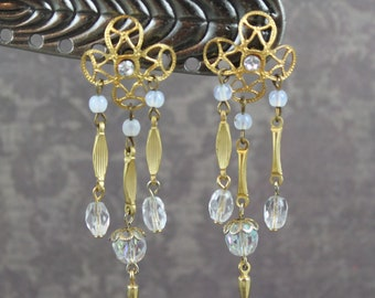 Vintage Gold, Opaline and Clear Crystal Beaded Dangle Pierced Earrings