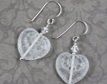 Clear and Sterling Silver Pressed Czech Glass Heart Dangle Earrings