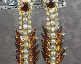 Vintage Brown and Clear AB Crystal Navette Rhinestone Dangle Gold Tone Clip On Earrings