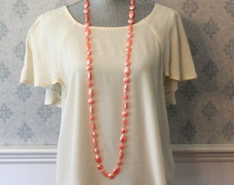 Vintage Frosted Peach Plastic Floral Long Beaded Necklace