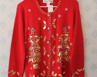 Vintage Victorian Harbour Bright Red and Gold Christmas Cardigan Sweater NWT