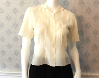 Vintage Floral Ivory Silk Embroidered Short Sleeve Blouse