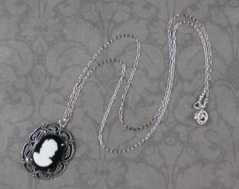Vintage Sterling Silver Filigree Marcasite Black and White Cameo Necklace