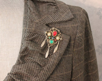 Vintage Art Deco 1920s to 1930s Red, Green and Pearl Glass and Rhinestone Dangling Dress Clip