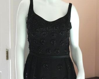 Vintage 1960s Long Beaded Black Floor Length Sleeveless Evening Gown