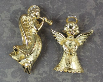 Pair of Vintage Gold Tone Angel Brooches