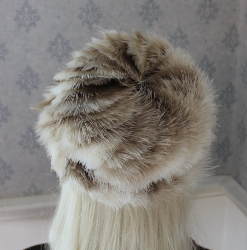 Vintage Mid Century Brown and Ivory Feather Covered Women/'s Hat