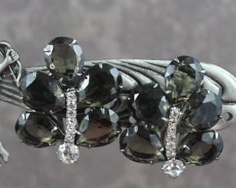 Vintage Black Diamond Open Back Teardrop and Clear Rhinestone Clip On Earrings