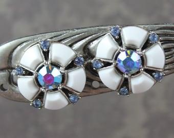 Vintage Trifari Baby Blue AB Rhinestone and White Plastic Round Silver Tone Clip On Earrings