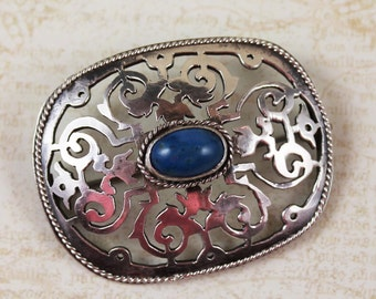 Victorian Sterling Silver Hand Cut Rectangular Blue Sodalite Stone Brooch