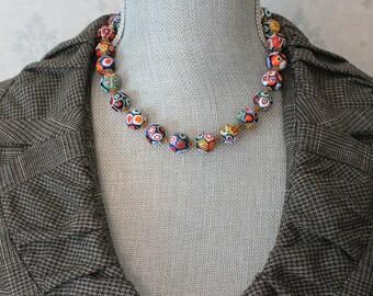 Vintage Italian Venetian Millefiori Brightly Colored Round Beaded Necklace