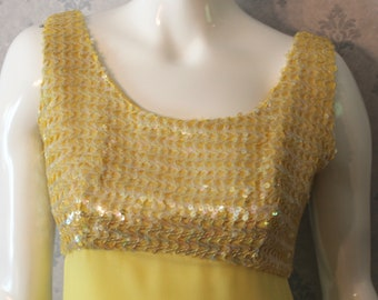 Vintage 1960s Stephen O'Grady Yellow Pastel Chiffon and Sequin Sleeveless Gown with Matching Coat
