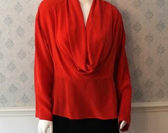 Vintage NWT 1980s to 1990s Orange Red Anne Klein Cowl Neck Long Sleeve Silk Blouse