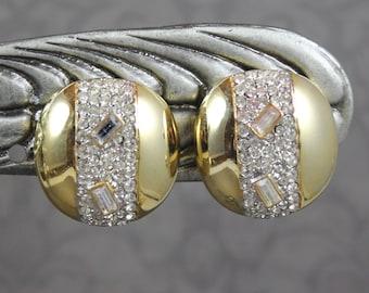Vintage Napier Round Rhinestone Shiny Gold Tone Clip On Earrings