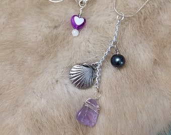 Amethyst + Pearl Dangle Necklace