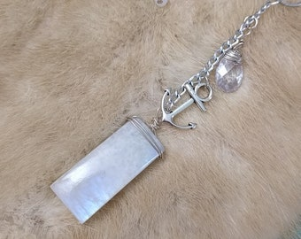 Moonstone + Crystal Dangle Necklace