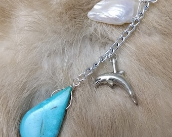 Turquoise + Pearl Dangle Necklace