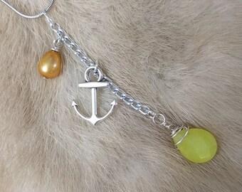Serpentine + Pearl Dangle Necklace