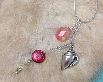 Cherry Quartz + Pearl Dangle Necklace