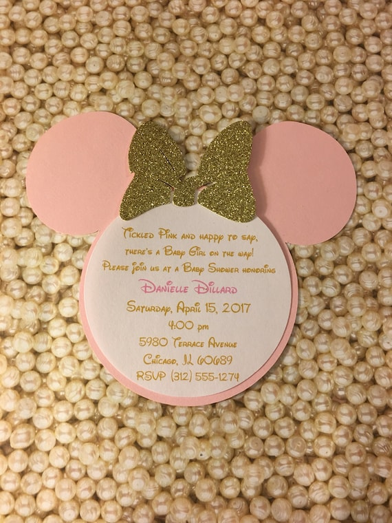 Tickled Pink Gold Glitter Baby Shower Minnie Mouse ...