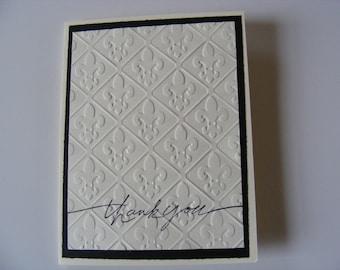 Thank You Cards Fleur De Lis Card Embossed Card Fleur De Lis Birthday Cards  -  With Fleur De Lis Embossed Design - Set of 6 Cards Envelope