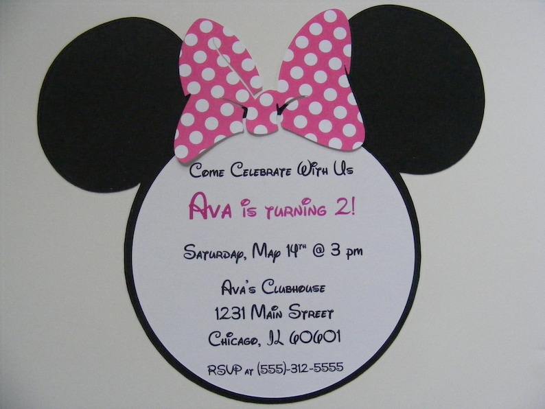 Handmade Minnie Mouse Invitations With Pink Polka Dot Bow Etsy