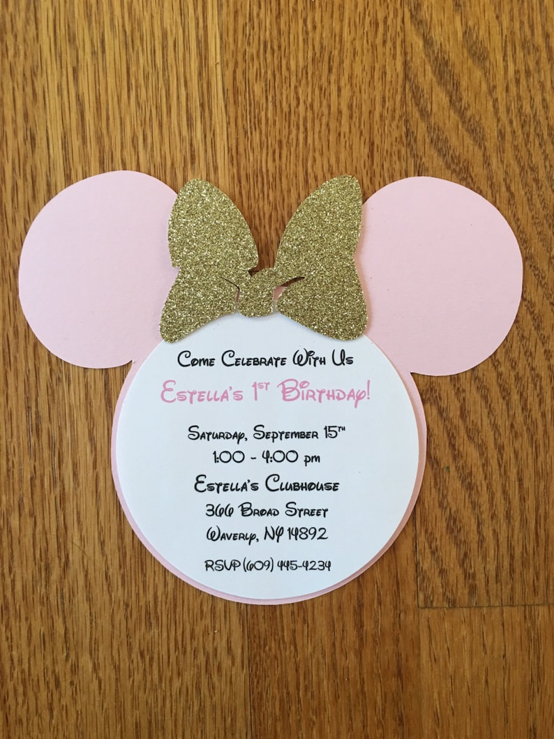 Handmade Minnie Mouse Pink Gold Glitter Invitations Minnie Etsy