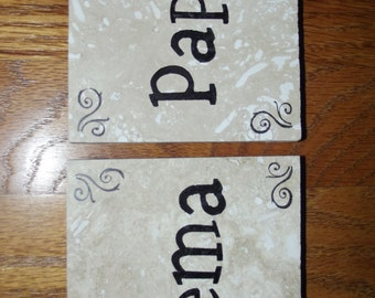 Mema and Papa Grandparent Coasters Holiday Gift Grandmother Grandfather